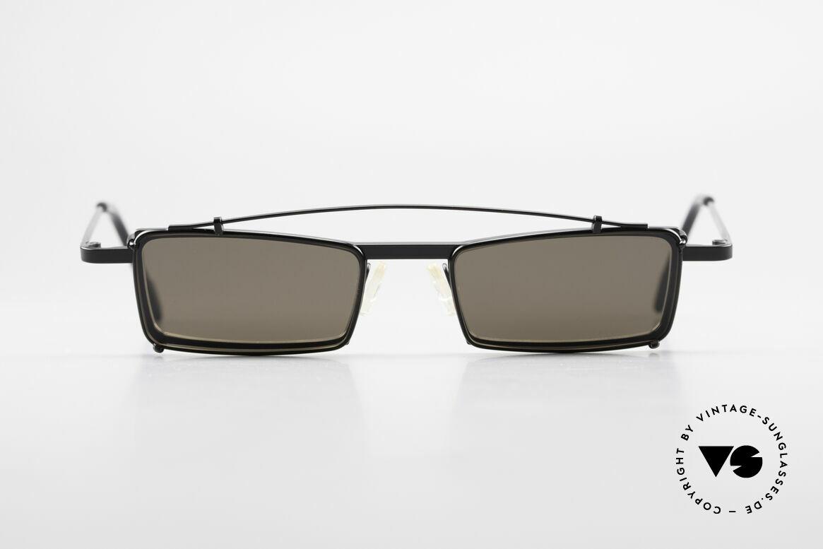 Theo Belgium XM Eckige Designerbrille Clip On, 1989 gegründet als GEGENPOL zum üblich 'Mainstream', Passend für Herren
