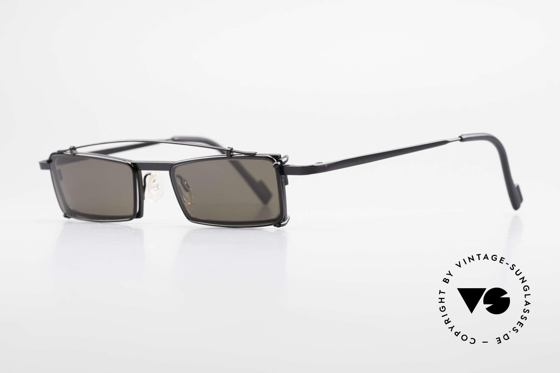 Theo Belgium XM Eckige Designerbrille Clip On, damals gemacht für die 'Avantgarde' und Individualisten, Passend für Herren