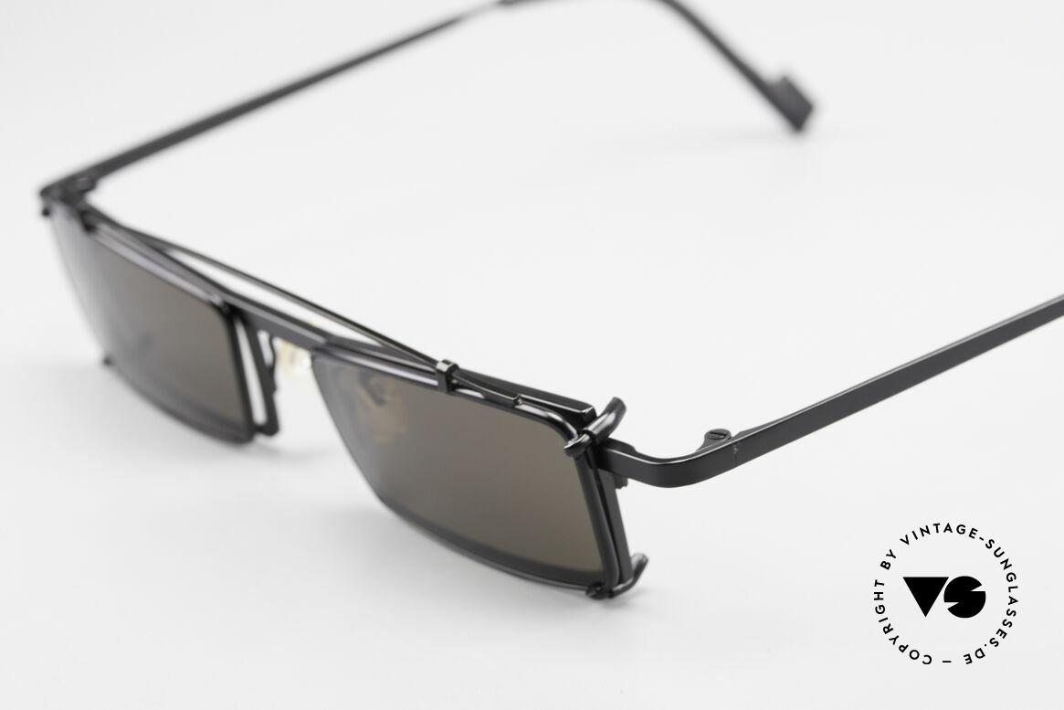 Theo Belgium XM Eckige Designerbrille Clip On, eckiger Rahmen mit Sonnen-Clip (für 100% UV Schutz), Passend für Herren