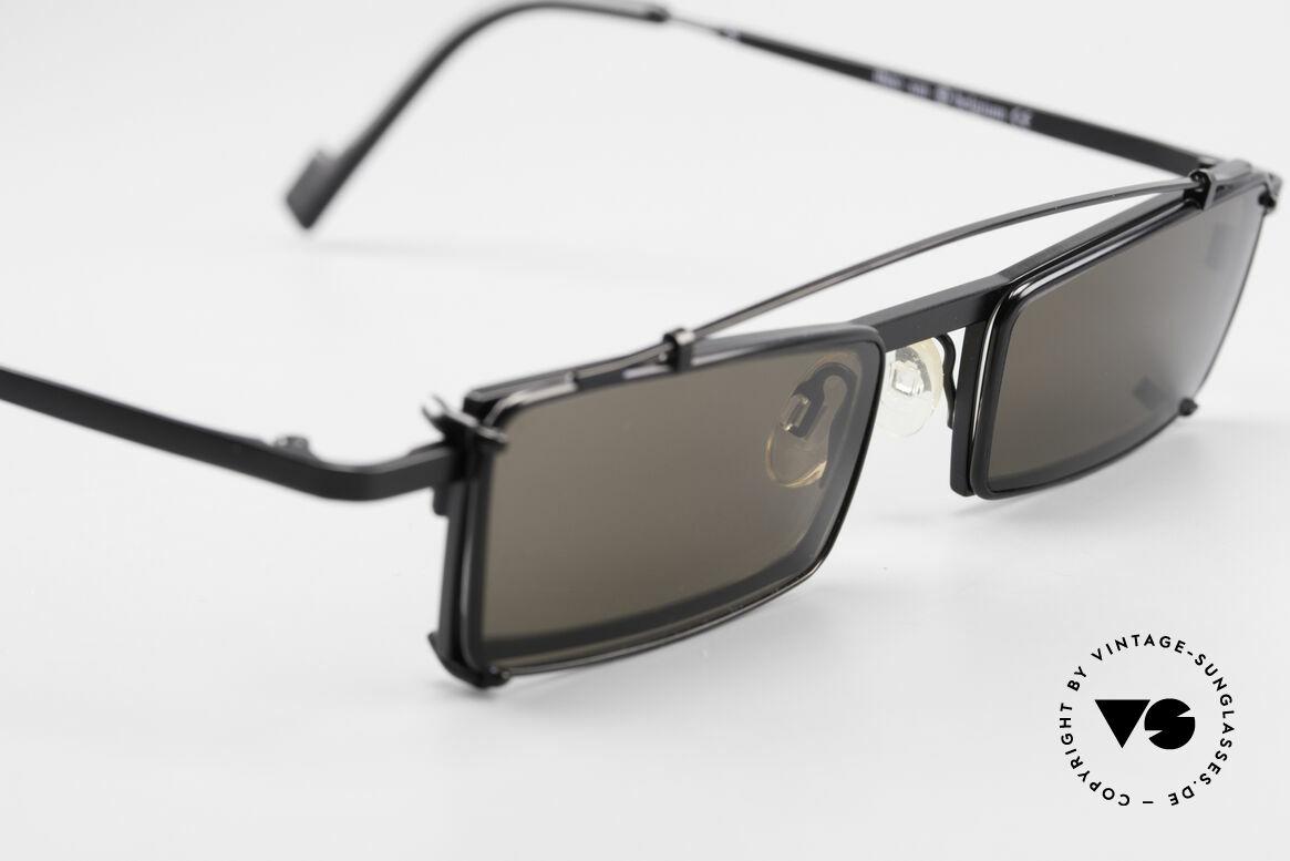 Theo Belgium XM Eckige Designerbrille Clip On, ungetragenes Theo-Einzelstück für die, die sich trauen!, Passend für Herren