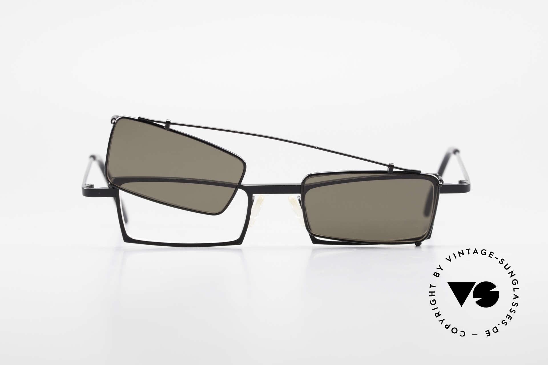 Theo Belgium XM Eckige Designerbrille Clip On, Größe: medium, Passend für Herren