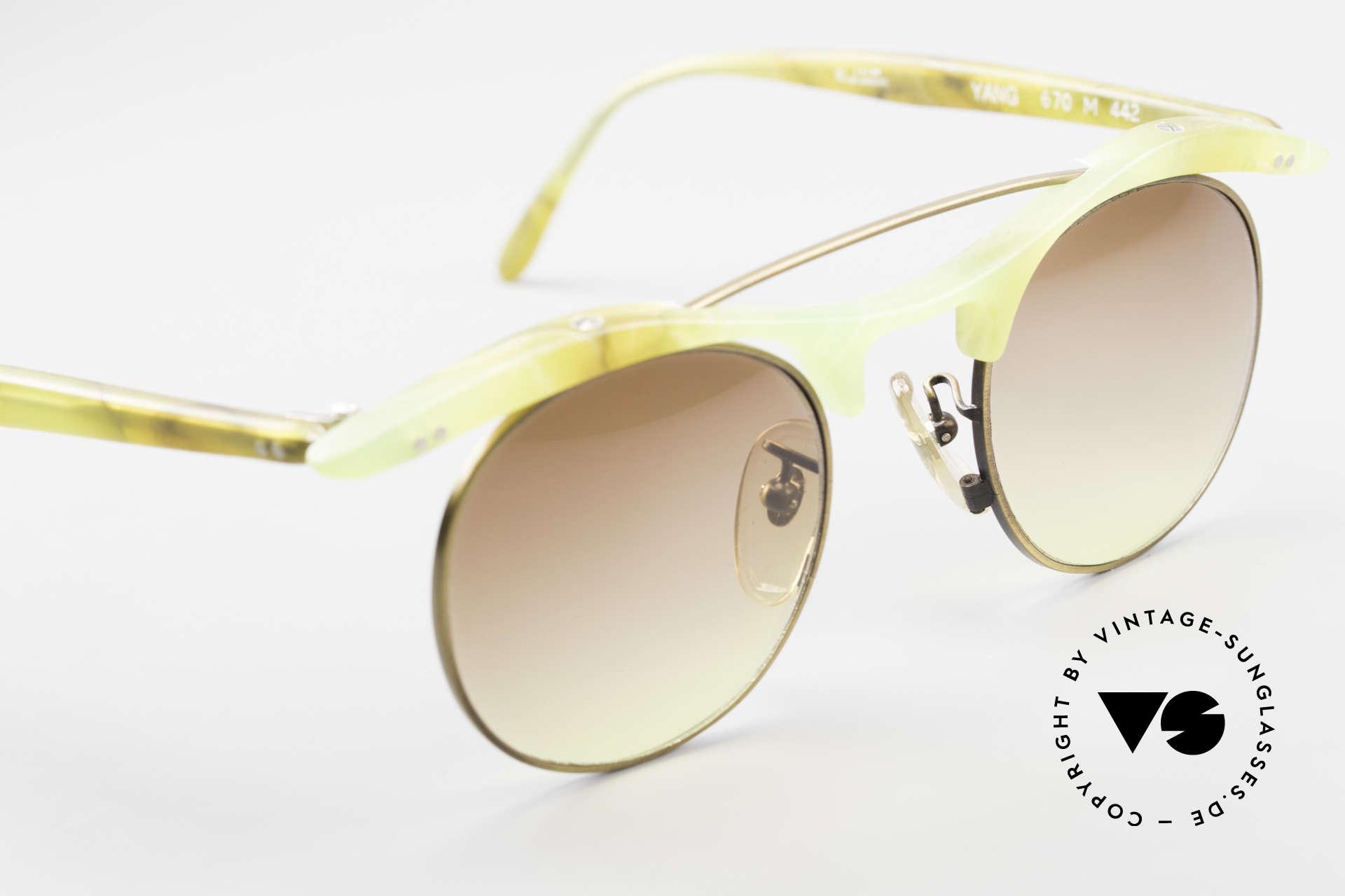 L.A. Eyeworks YANG 670 Vintage Sonnenbrille No Retro, Farbe erscheint auf Foto gelblich, ist aber GRÜNLICH!, Passend für Herren und Damen