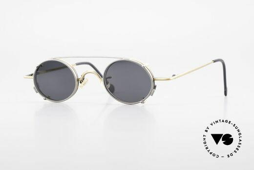 L.A. Eyeworks LINK 143 Ovale Brille mit Sonnen-Clip Details