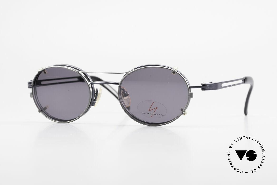 Yohji Yamamoto 51-6106 Clip On Brille Oval Blau Metall, vintage Brille von Yohji Yamamoto mit Sonnen-Clip, Passend für Herren und Damen