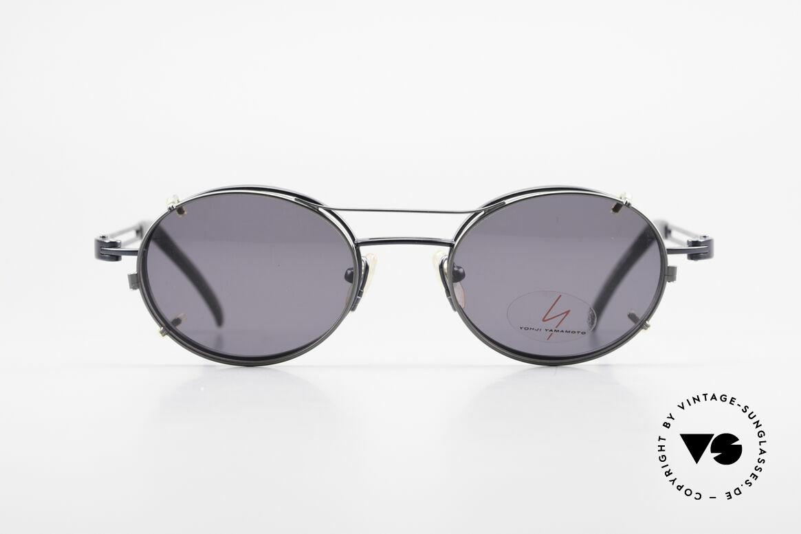 Yohji Yamamoto 51-6106 Clip On Brille Oval Blau Metall, herausragende Qualität aus den 90ern, made in Japan, Passend für Herren und Damen