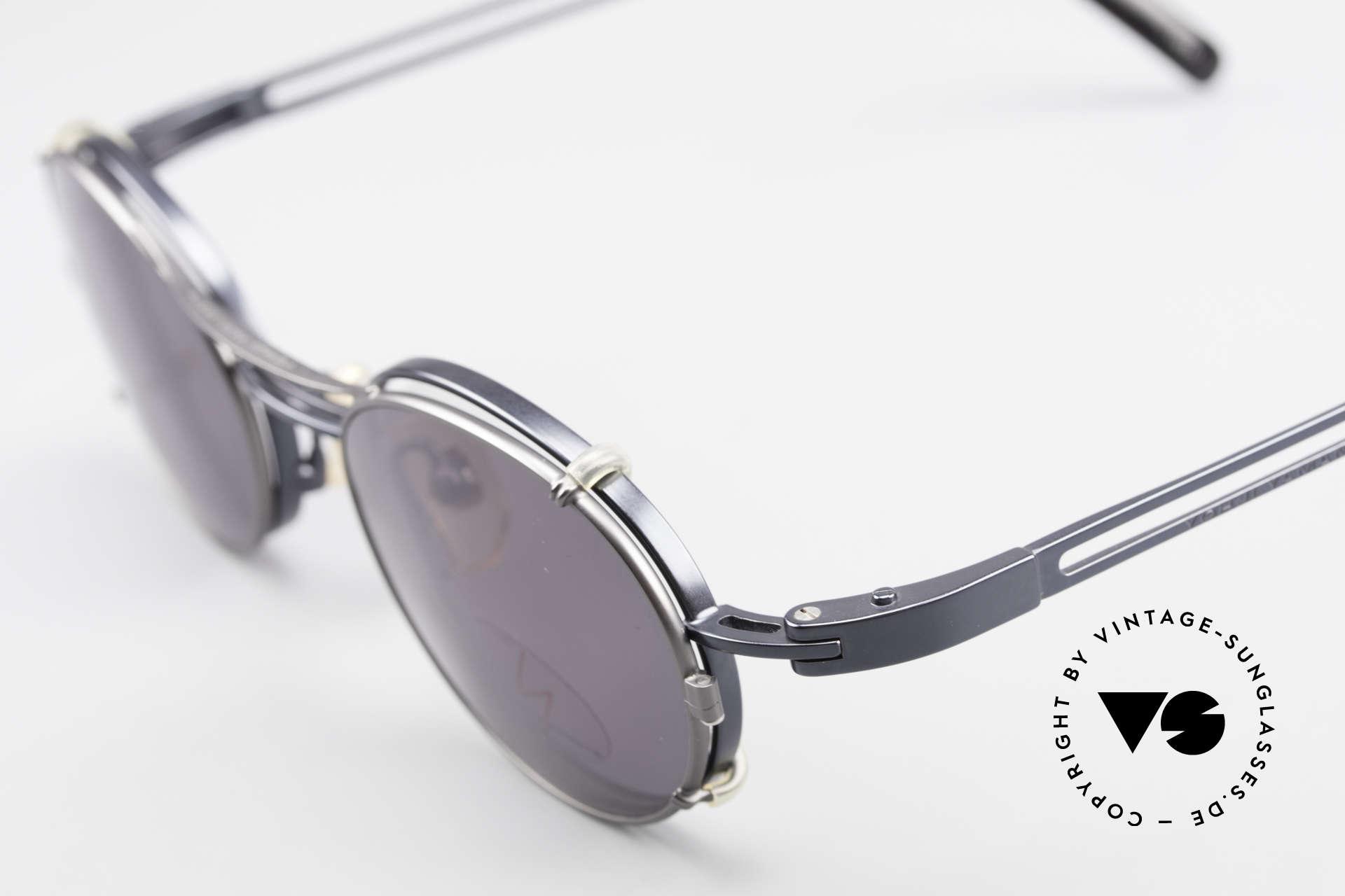 Yohji Yamamoto 51-6106 Clip On Brille Oval Blau Metall, ungetragen (wie alle unsere vintage Qualitätsbrillen), Passend für Herren und Damen