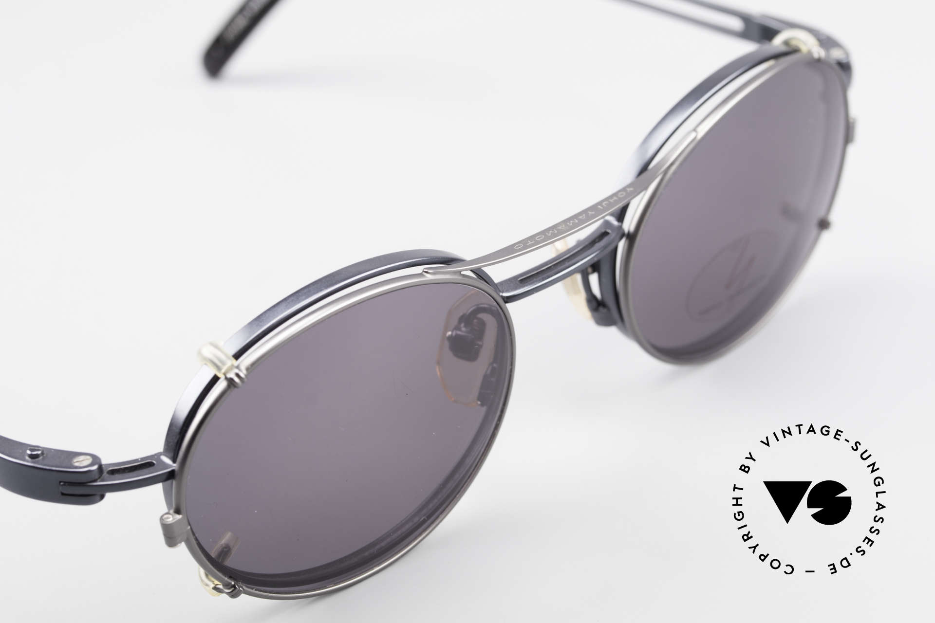Yohji Yamamoto 51-6106 Clip On Brille Oval Blau Metall, ein altes Yamamoto Original, KEINE neue Retromode!, Passend für Herren und Damen