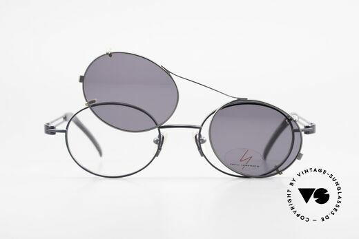 Yohji Yamamoto 51-6106 Clip On Brille Oval Blau Metall, Größe: large, Passend für Herren und Damen