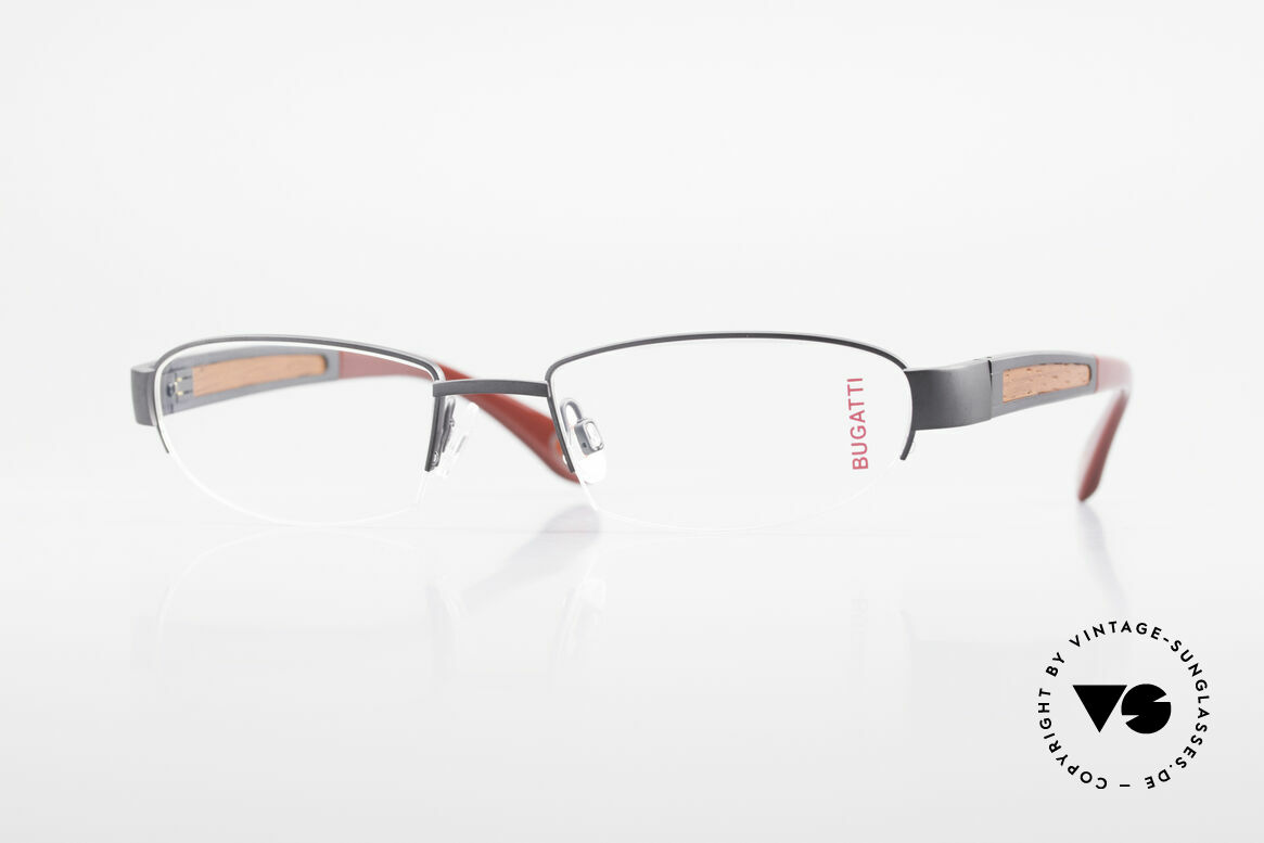 Bugatti 520 Padouk Edelholz Titanbrille, BUGATTI LUXUS-Brille 520 in unfassbarer Qualität, Passend für Herren