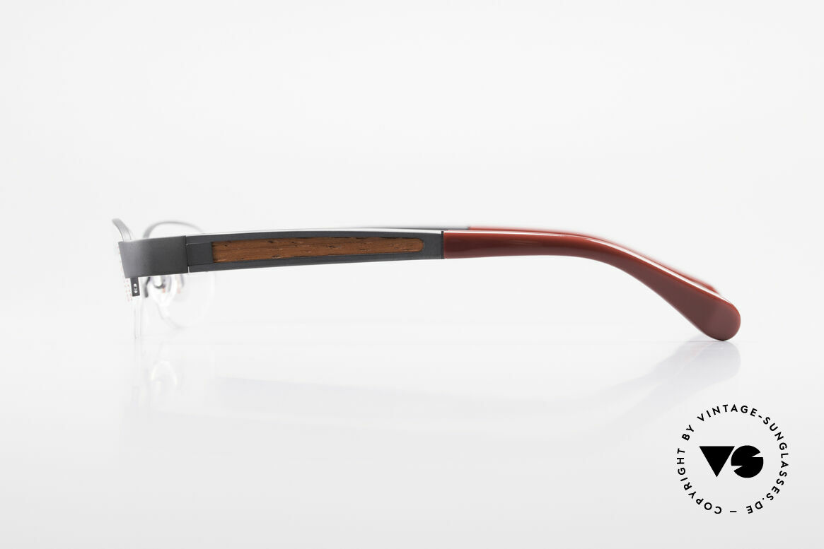 Bugatti 520 Padouk Edelholz Titanbrille, flexible Federscharniere für eine optimale Passform, Passend für Herren
