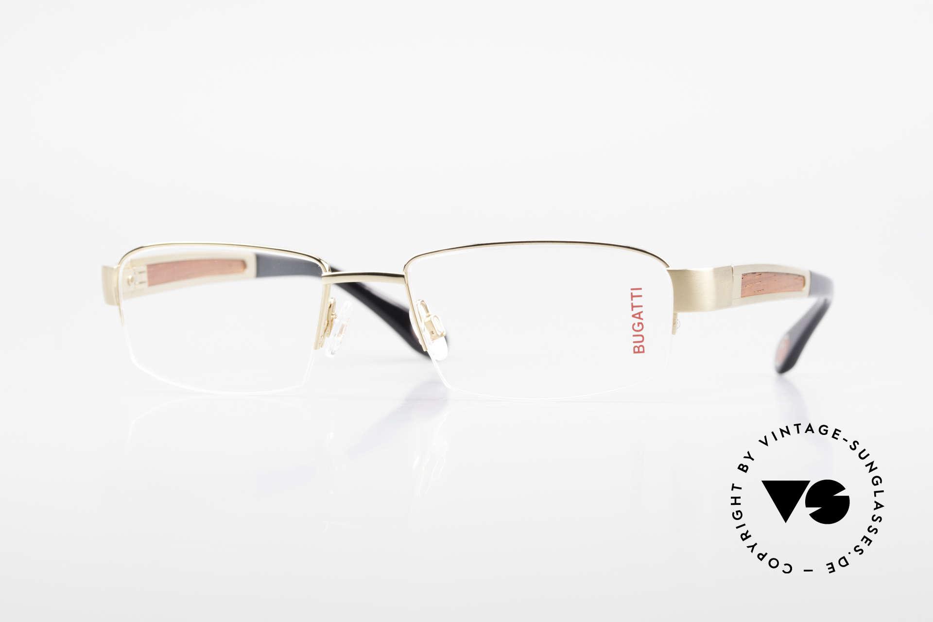 Bugatti 521 Padouk Edelholz Gold Brille, BUGATTI LUXUS-Brille 521 in unfassbarer Qualität, Passend für Herren