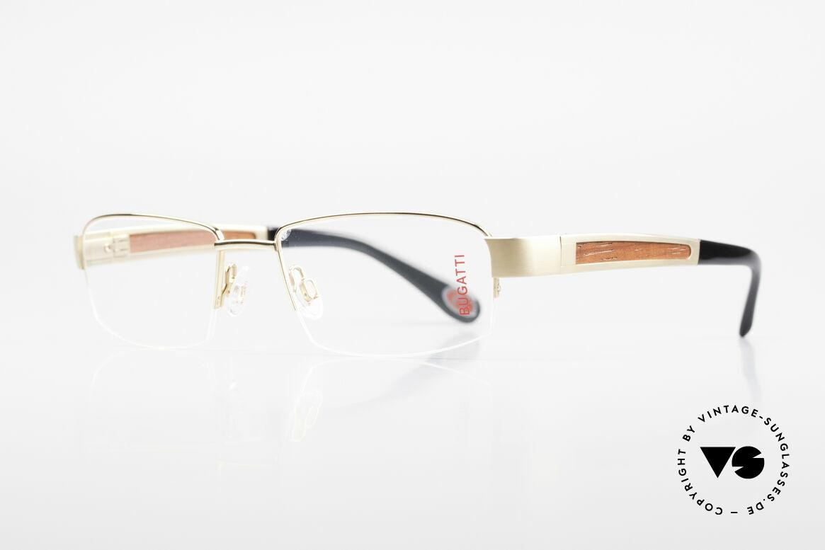 Bugatti 521 Padouk Edelholz Gold Brille, mit afrikanischem PADOUK Edelholz als Bügel-Inlay, Passend für Herren
