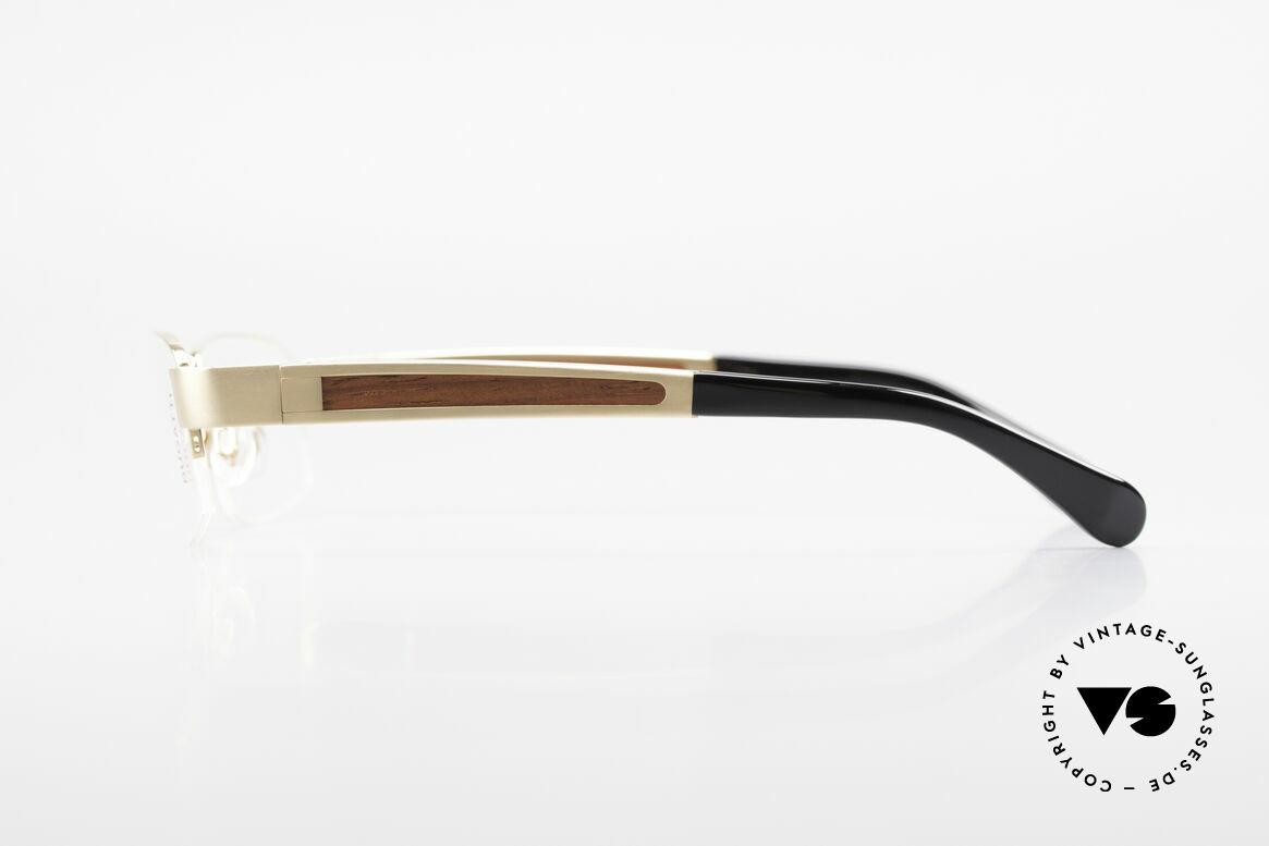Bugatti 521 Padouk Edelholz Gold Brille, flexible Federscharniere für eine optimale Passform, Passend für Herren