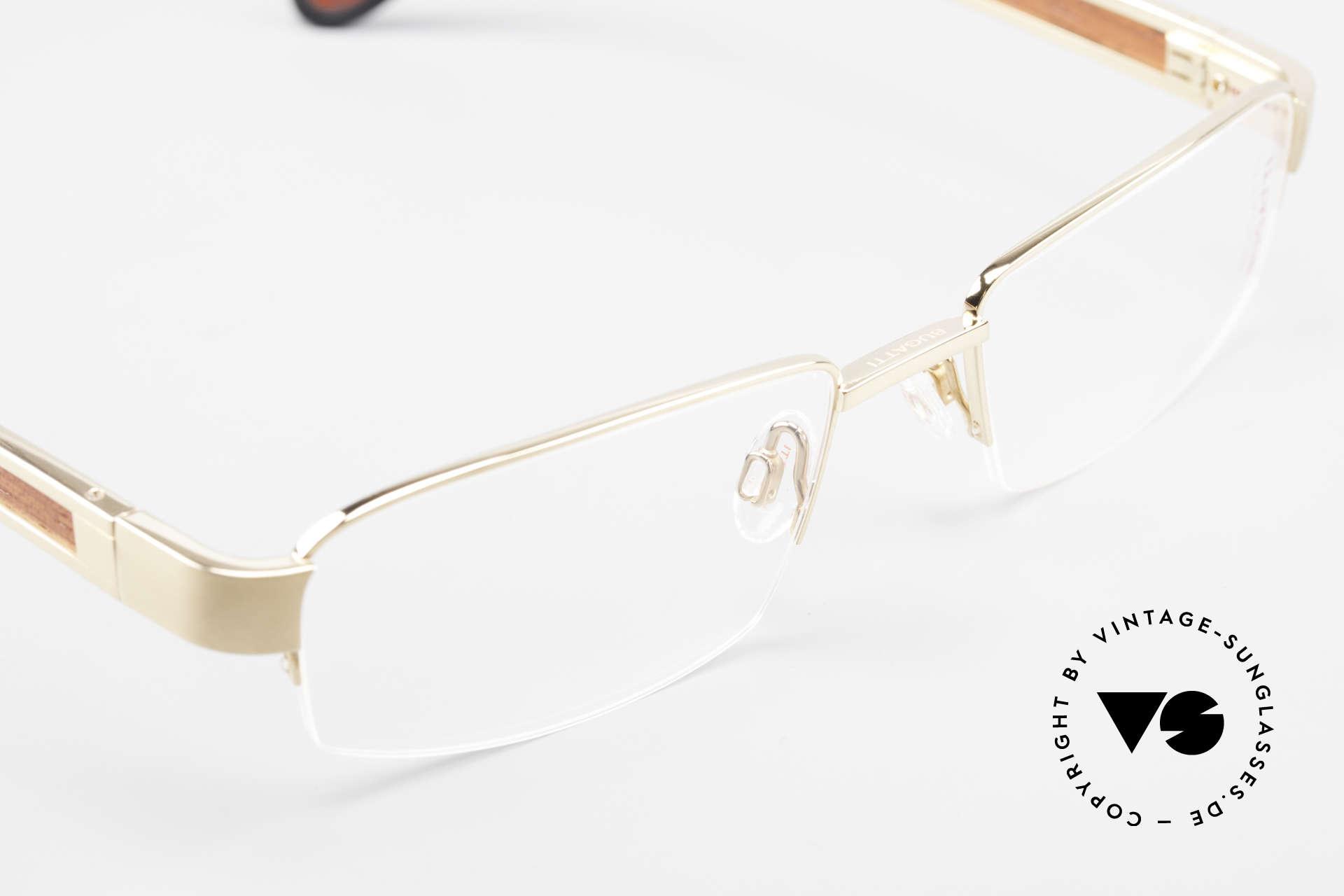 Bugatti 521 Padouk Edelholz Gold Brille, ungetragenes Luxus-Modell; eine Rarität für Kenner, Passend für Herren