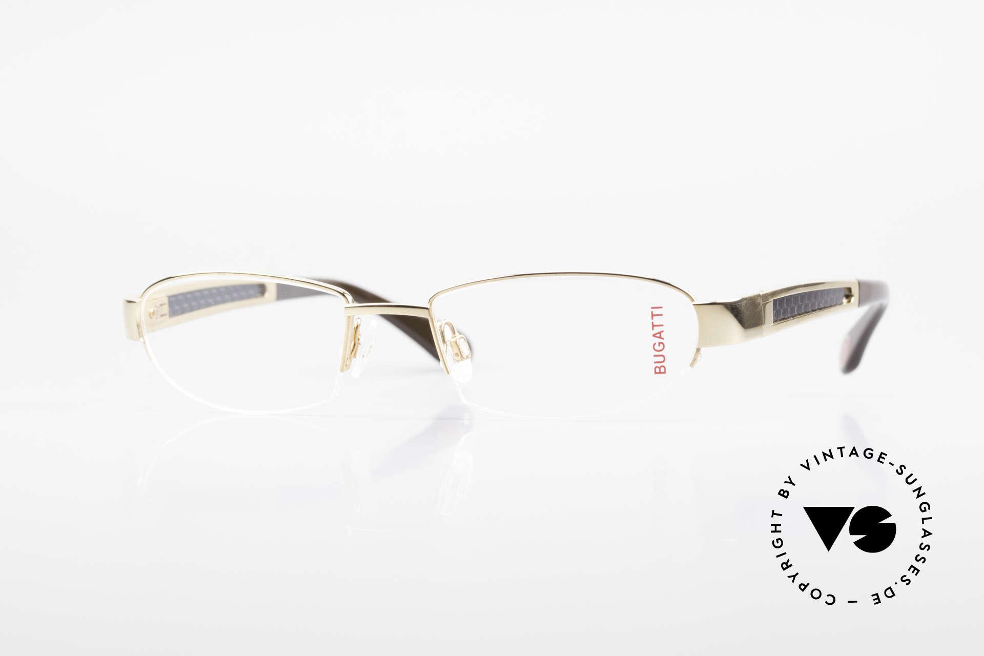 Bugatti 523 Carbon Titanium Gold Brille, BUGATTI LUXUS-Brille 523 in unfassbarer Qualität, Passend für Herren