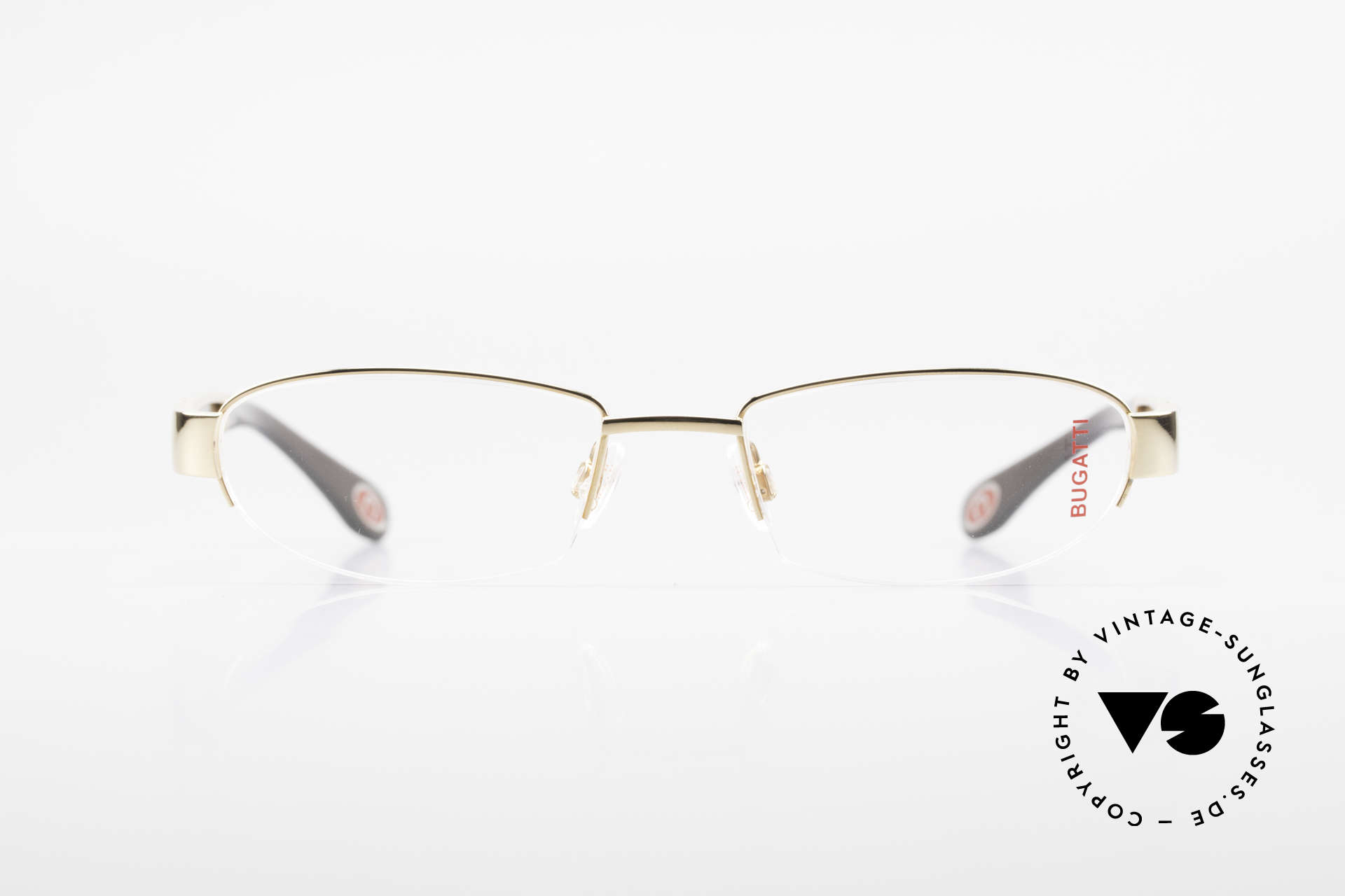 Bugatti 523 Carbon Titanium Gold Brille, Titanium-Fassung (Medium Größe) ist 22kt vergoldet, Passend für Herren