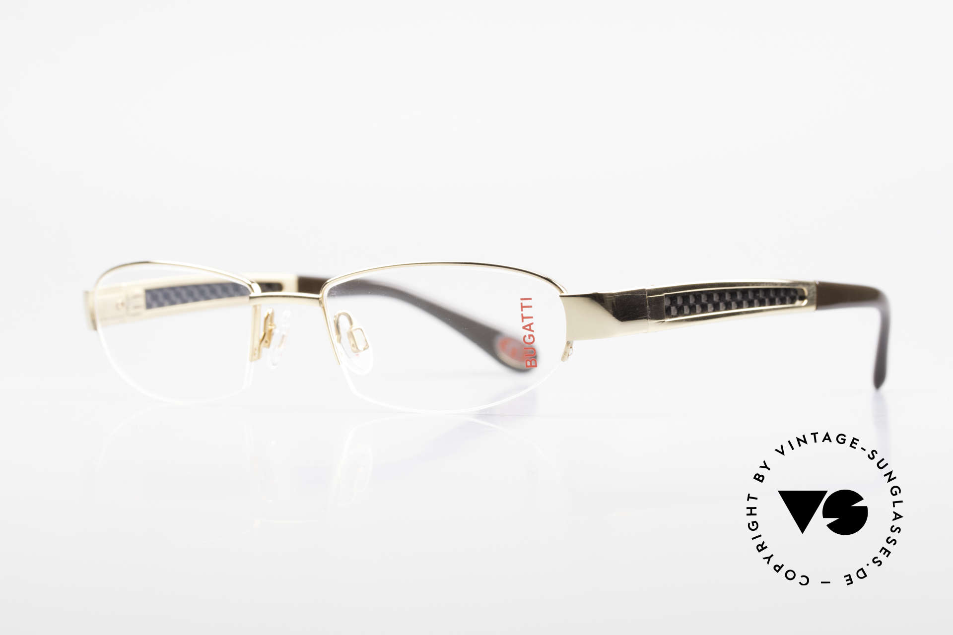 Bugatti 523 Carbon Titanium Gold Brille, Bügel-Inlays aus Carbon: sehr leicht & enorm robust, Passend für Herren