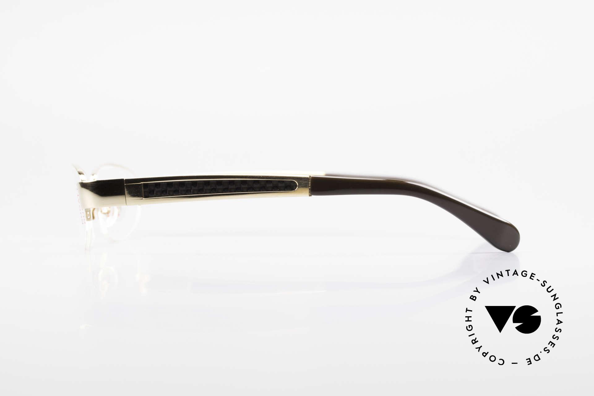 Bugatti 523 Carbon Titanium Gold Brille, flexible Federscharniere für eine optimale Passform, Passend für Herren