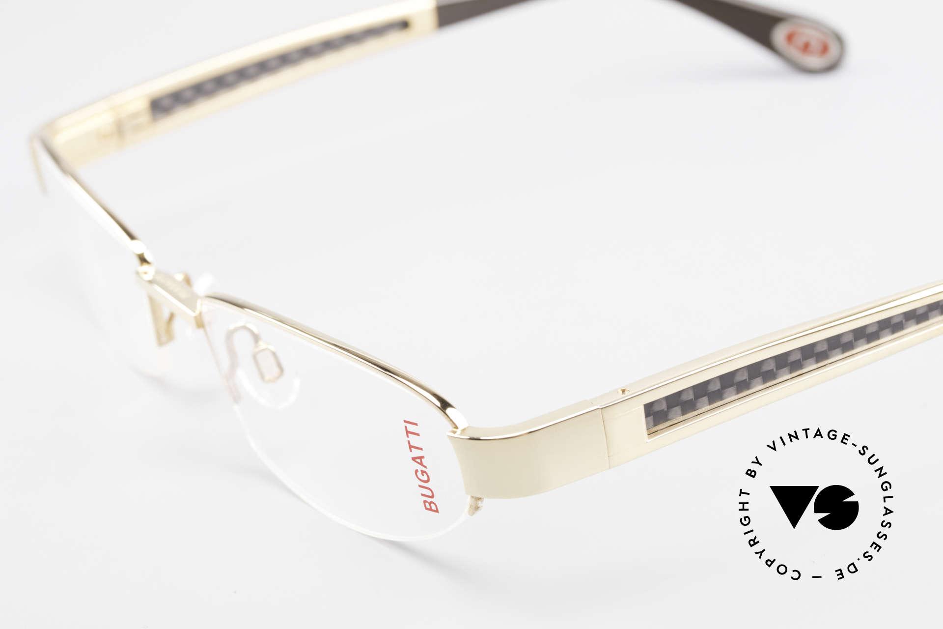 Bugatti 523 Carbon Titanium Gold Brille, absolutes Spitzen-Produkt in Design & Verarbeitung, Passend für Herren
