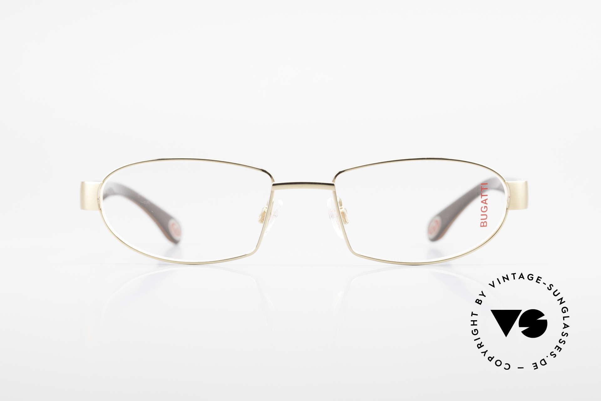 Bugatti 527 Vergoldete Titanium Brille, Titanium-Fassung (Large Größe) ist 22kt vergoldet, Passend für Herren