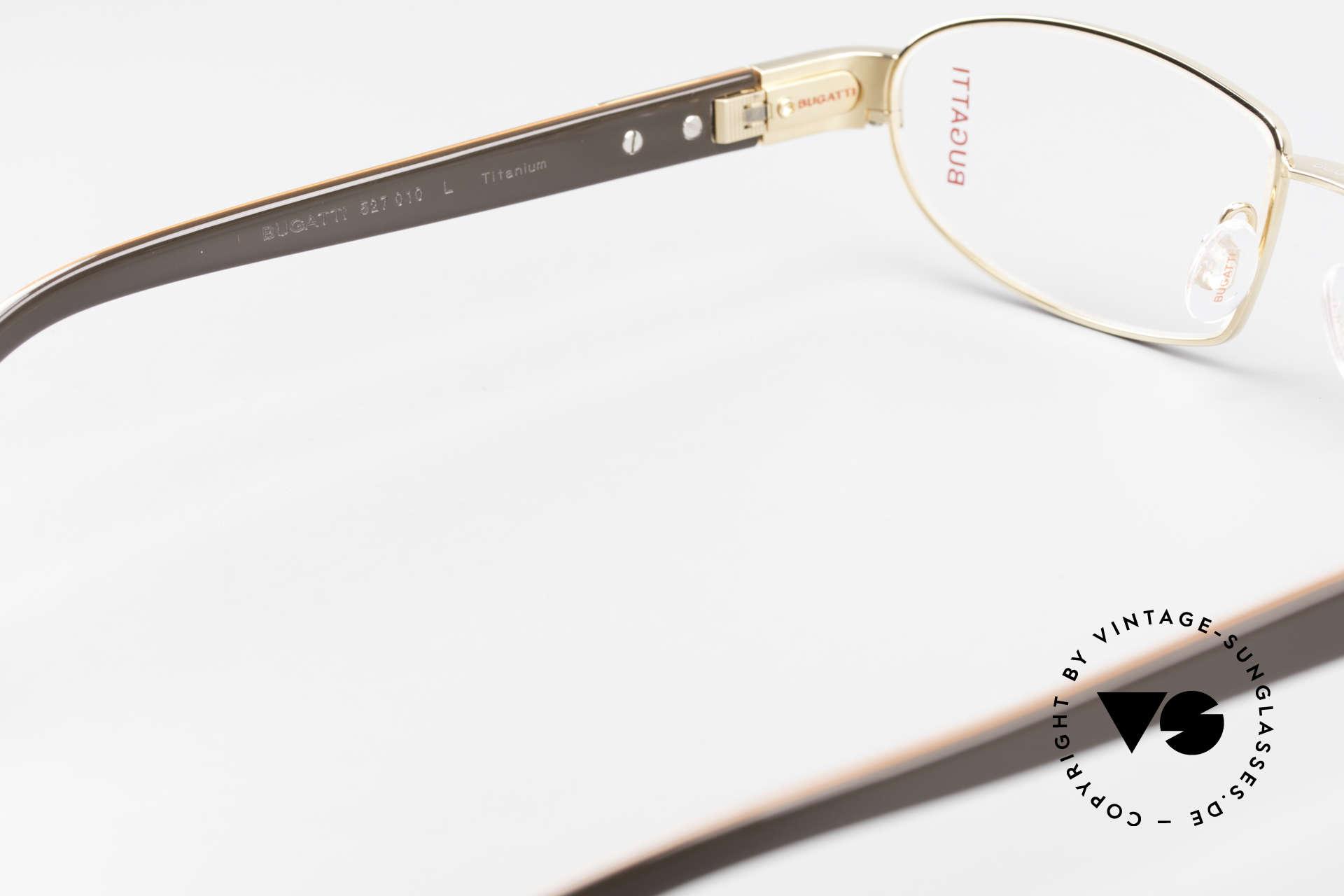 Bugatti 527 Vergoldete Titanium Brille, ungetragenes Luxus-Modell; eine Rarität für Kenner, Passend für Herren