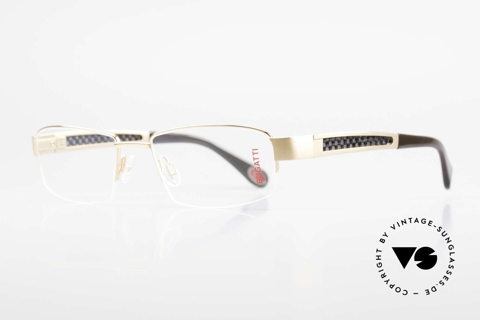 Bugatti 524 Carbon Titanium Gold Brille, Bügel-Inlays aus Carbon: sehr leicht & enorm robust, Passend für Herren