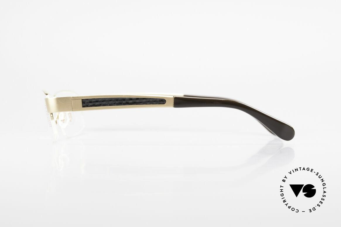 Bugatti 524 Carbon Titanium Gold Brille, flexible Federscharniere für eine optimale Passform, Passend für Herren