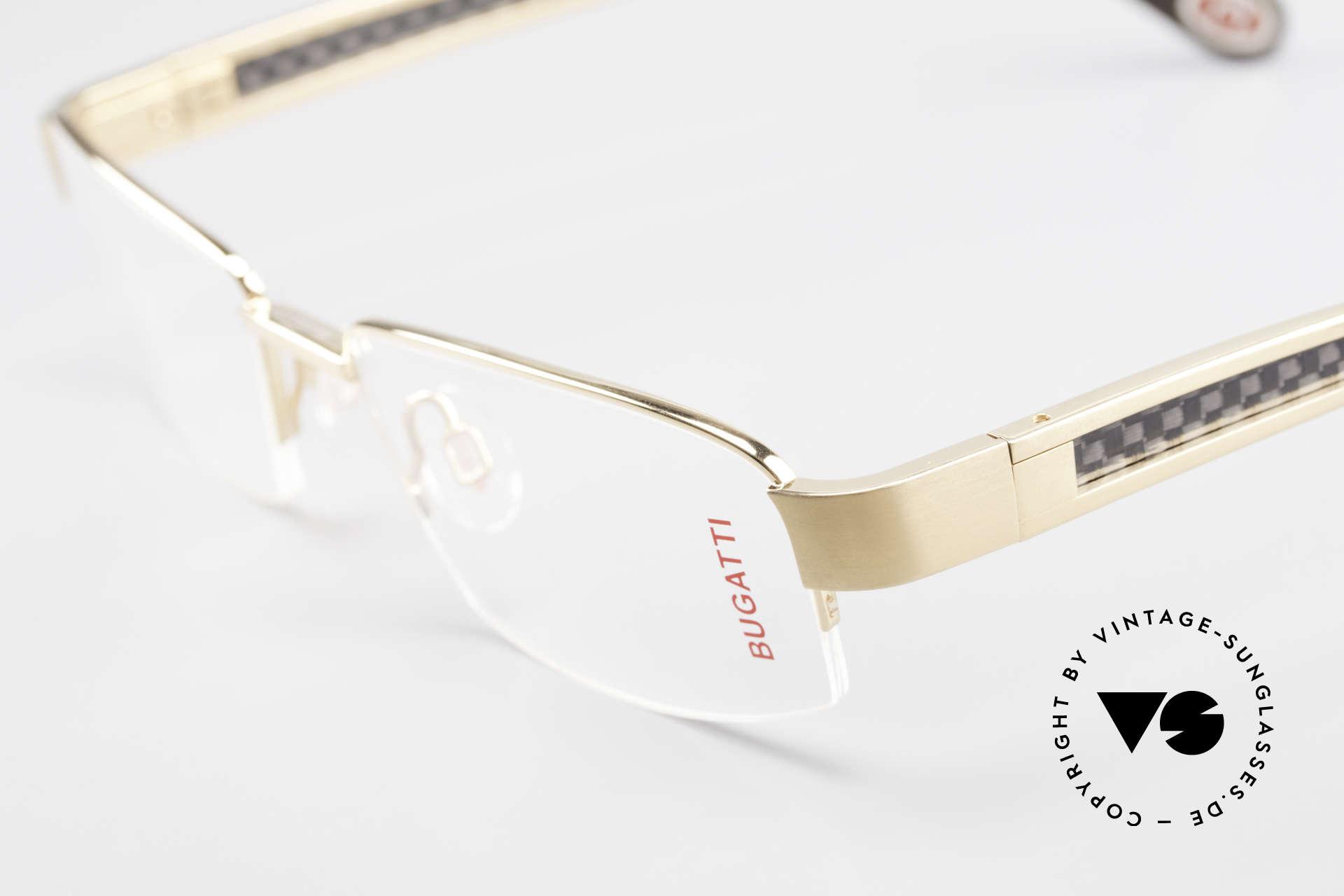 Bugatti 524 Carbon Titanium Gold Brille, absolutes Spitzen-Produkt in Design & Verarbeitung, Passend für Herren