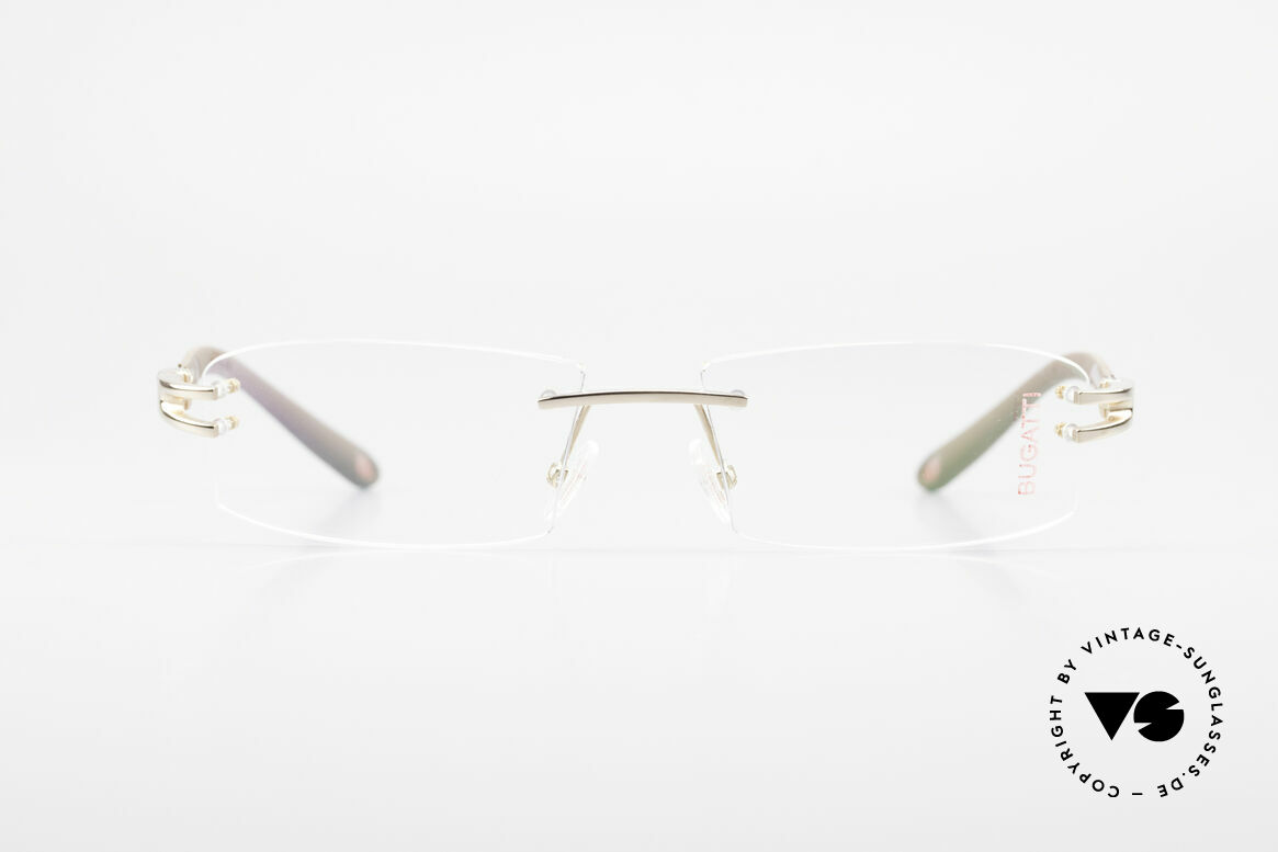 Bugatti 464 Randlose Brille Carbon Gold, randlose, sportliche Form ... männlich, markant, Passend für Herren