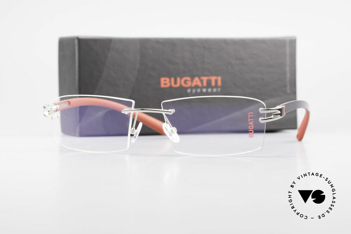 Bugatti 465 Randlose Palladium Luxusbrille, Größe: large, Passend für Herren