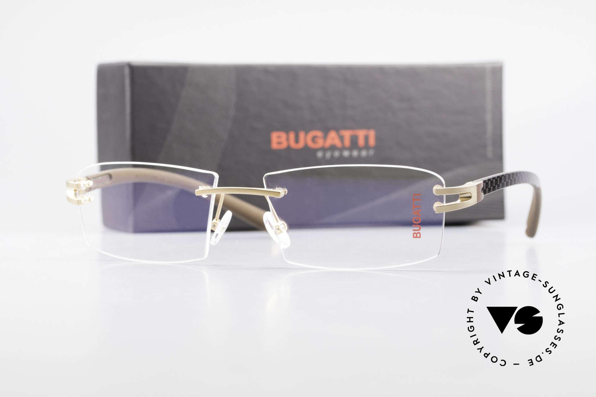Bugatti 465 Randlose Brille Carbon Gold, Größe: large, Passend für Herren