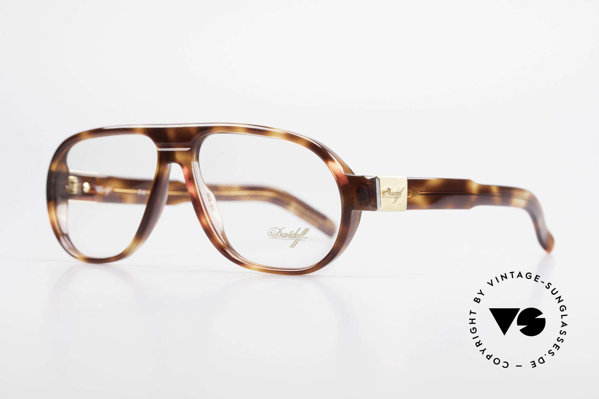Davidoff 100 90er Herren Vintage Brille, zudem vergoldete Scharniere & Bügel-Applikationen, Passend für Herren