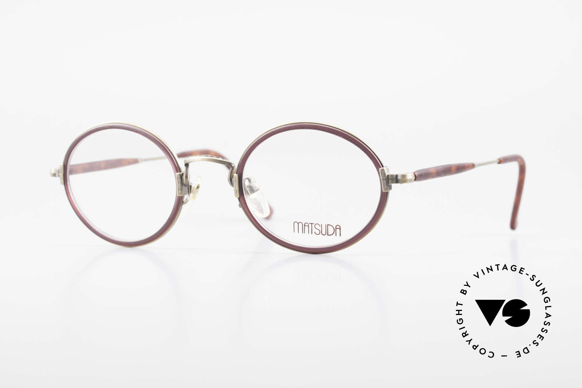 Matsuda 2834 Rund Ovale 90er Luxus Brille, 90er Jahre vintage Designer-Sonnenbrille von MATSUDA, Passend für Herren und Damen