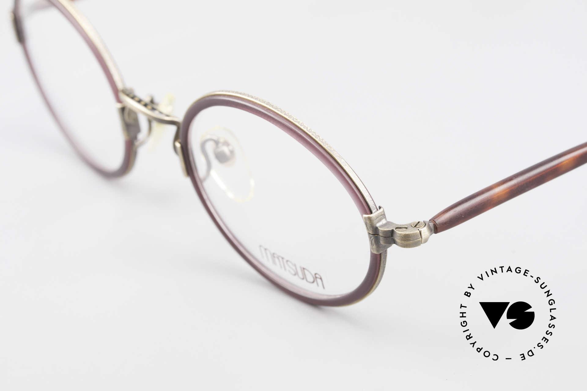 Matsuda 2834 Rund Ovale 90er Luxus Brille, komplette vintage Fassung mit sehr viel Liebe zum Detail, Passend für Herren und Damen