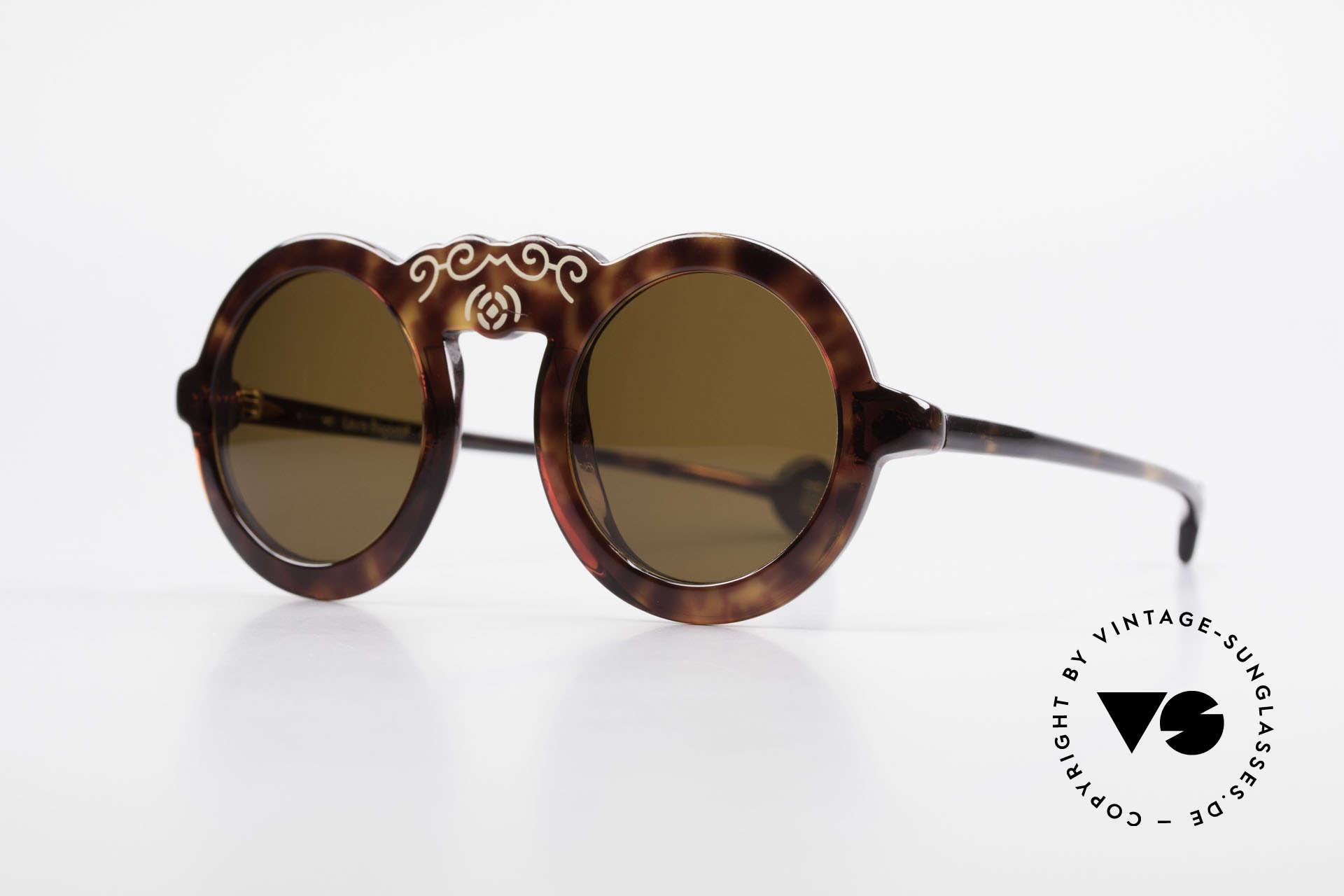 Laura Biagiotti V93 Shangai True Vintage Sonnenbrille 70er, einzigartig schickes Rahmenmuster mit LB Soft-Etui, Passend für Damen