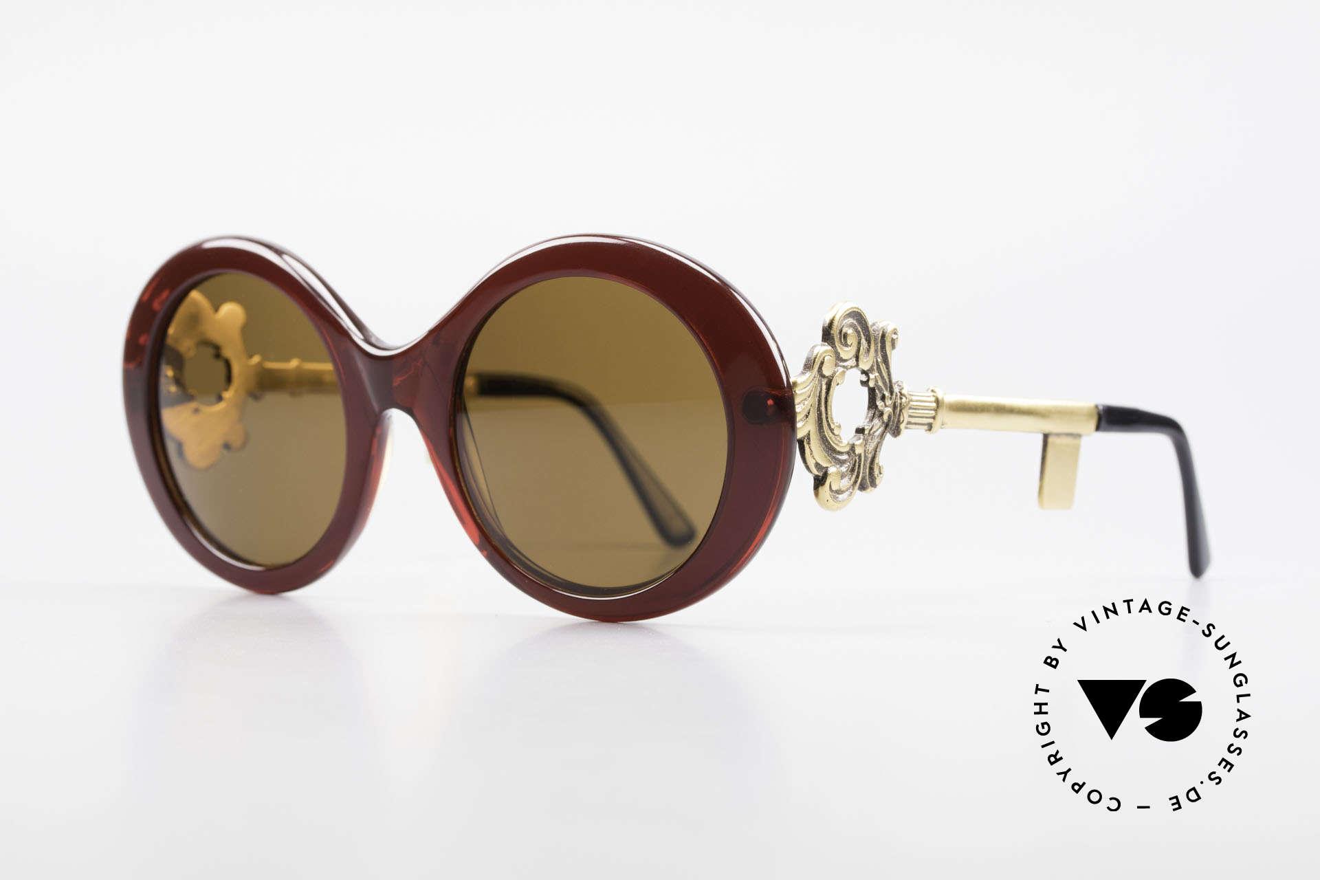 Moschino M254 Schüssel Sonnenbrille Antik, die Bügel sind gestaltet wie ein antiker Schlüssel, Passend für Damen
