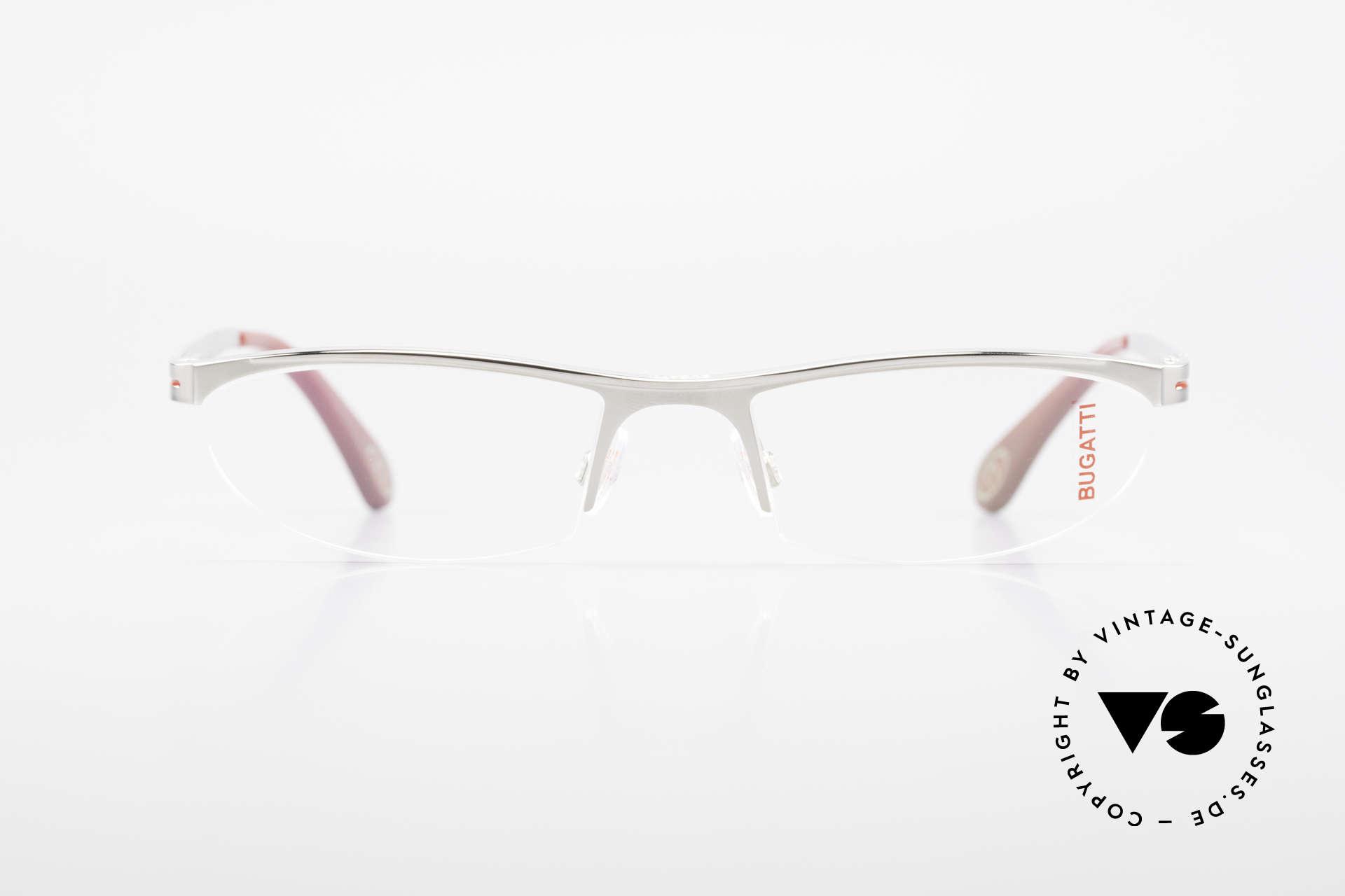 Bugatti 497 Palladium Vintage Brille Nylor, charakteristisches Design der Odotype-Serie, Passend für Herren