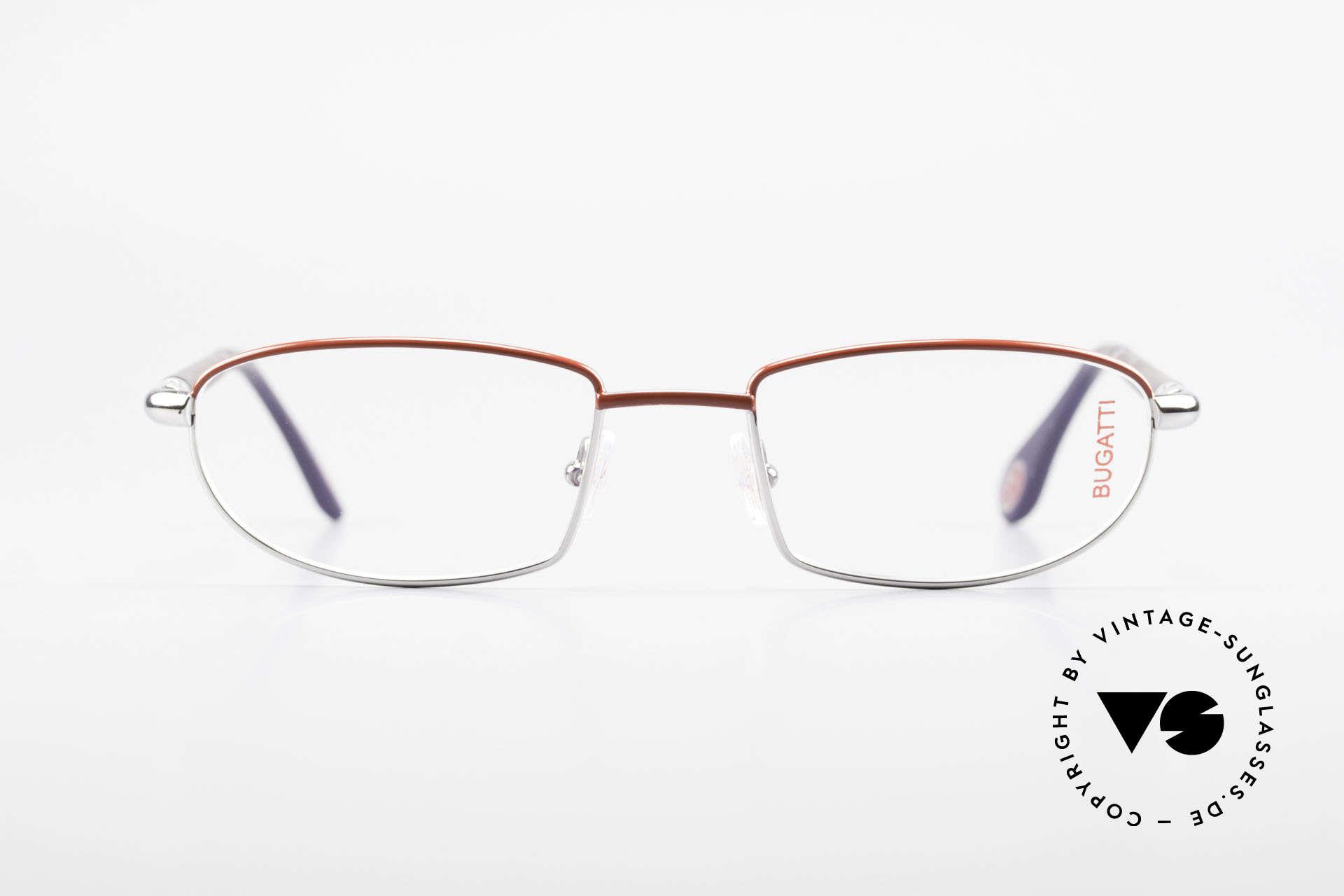 Bugatti 537 Echthorn Brille Palladium, Metall-Fassung (in Gr. 54/20) ist Palladium-plattiert, Passend für Herren