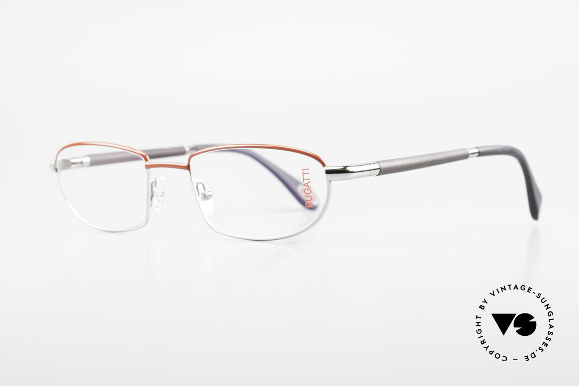 Bugatti 537 Echthorn Brille Palladium, Bügel sind aus echtem dunklen Horn (Naturmaterial), Passend für Herren