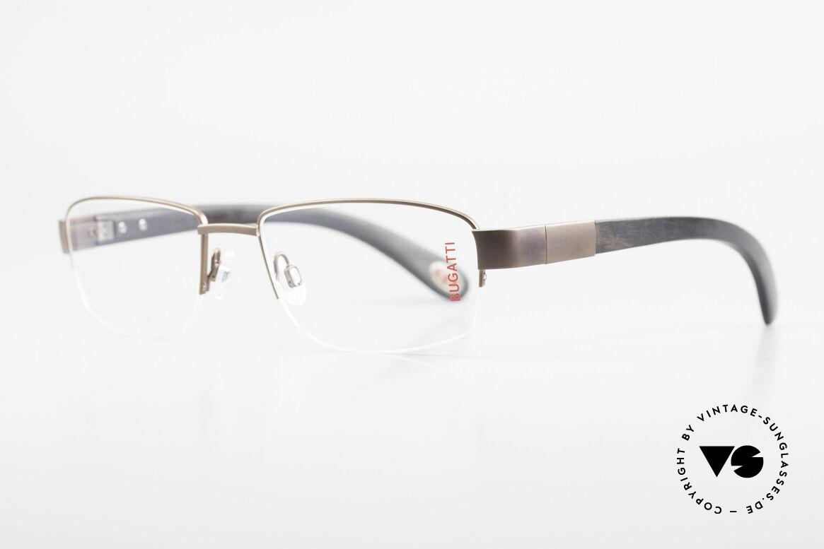Bugatti 529 XL Ebenholz Titanium Brille, Bügel sind aus echtem afrik. Ebenholz (aus Kamerun), Passend für Herren