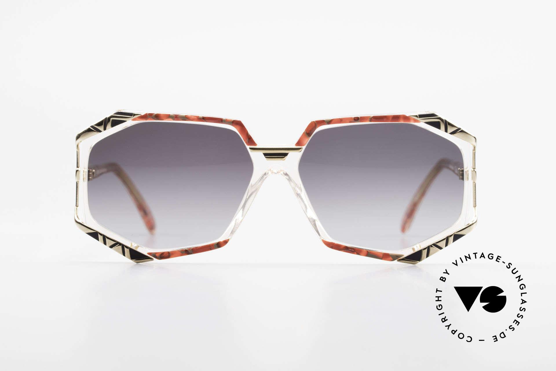 Cazal 355 Spektakuläre Sonnenbrille 90er, markante Rahmengestaltung mit grandiosen Farben, Passend für Damen
