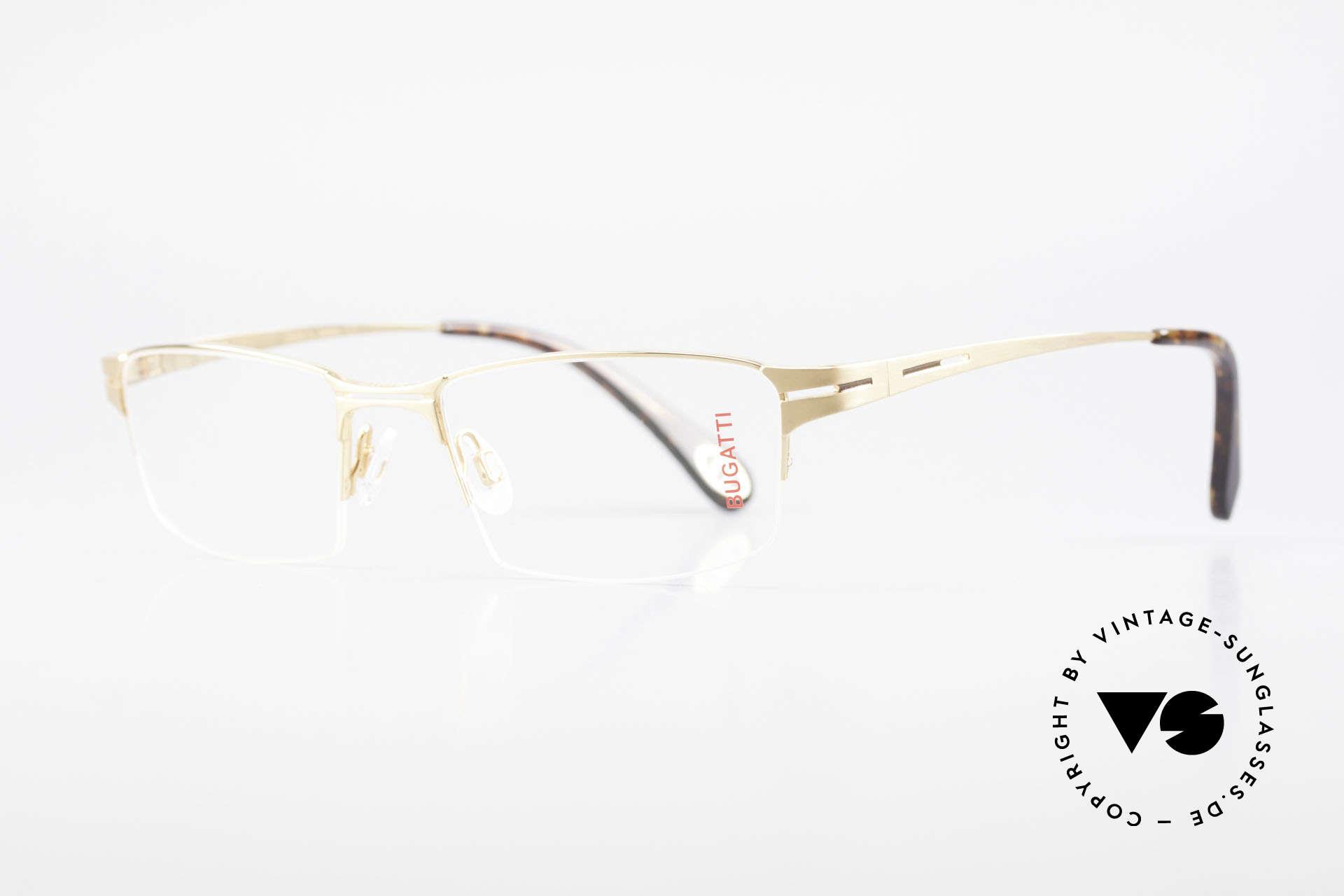 Bugatti 456 Nylor Titan Brille Vergoldet, Nylor-Faden als Glas-Halterung (nur 19g total), Passend für Herren