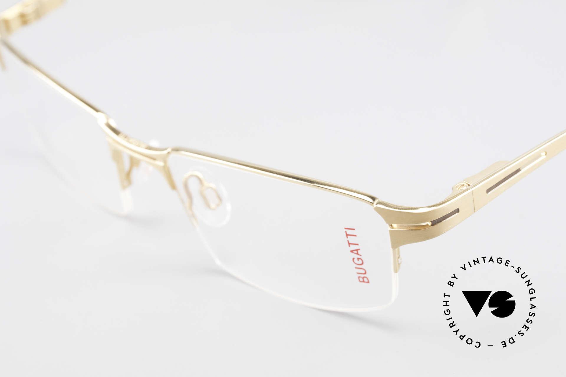Bugatti 456 Nylor Titan Brille Vergoldet, sportlich, männlich, markant ... und sehr selten, Passend für Herren