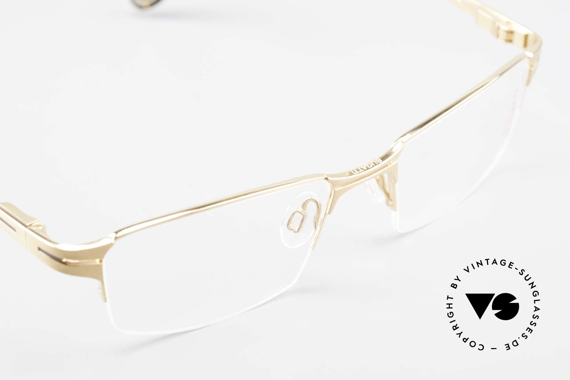 Bugatti 456 Nylor Titan Brille Vergoldet, herausragende Qualität: flexible Federscharniere, Passend für Herren