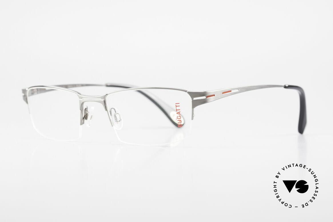 Bugatti 456 Nylor Titan Brille Ruthenium, Nylor-Faden als Glas-Halterung (nur 19g total), Passend für Herren