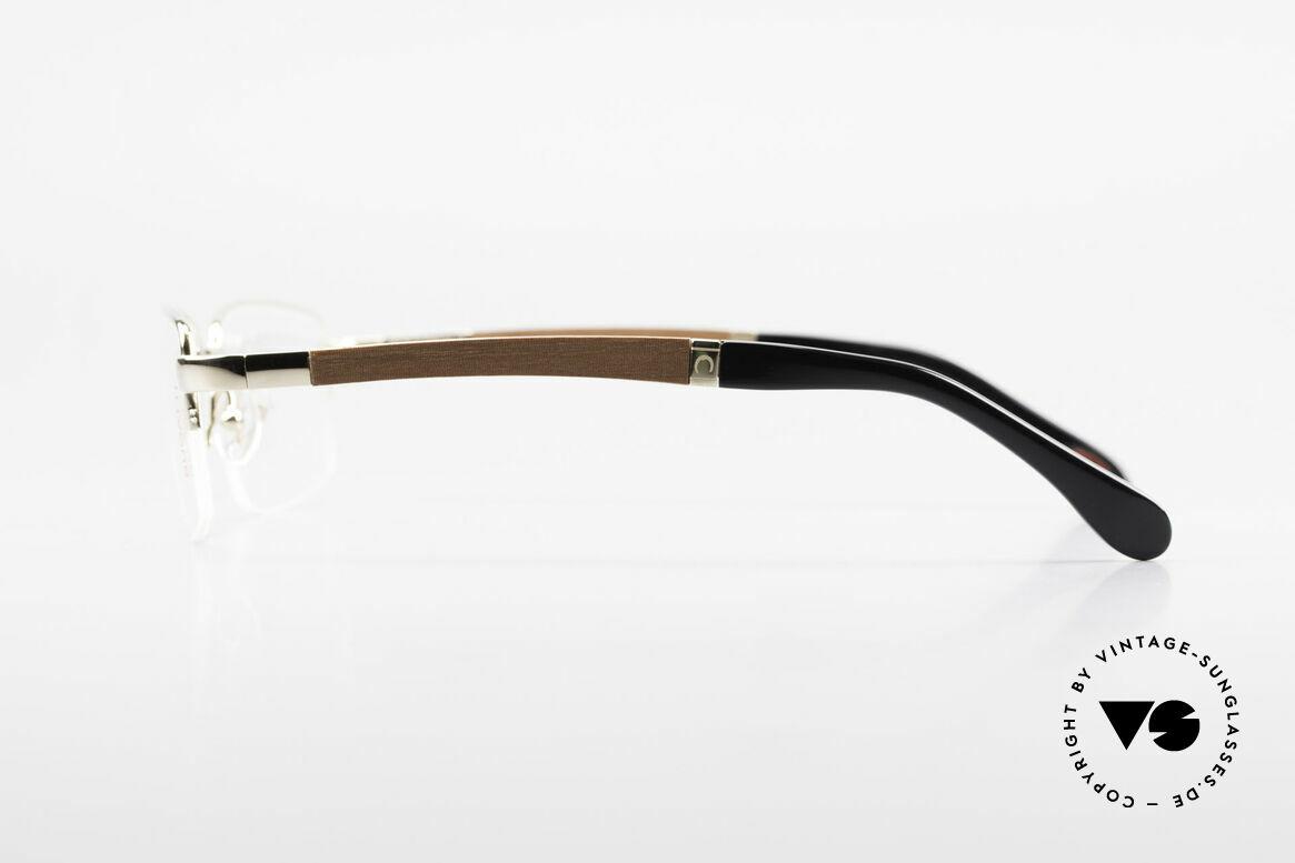 Bugatti 547 Padouk Edelholz Brille Gold L, flexible Federscharniere für eine optimale Passform, Passend für Herren