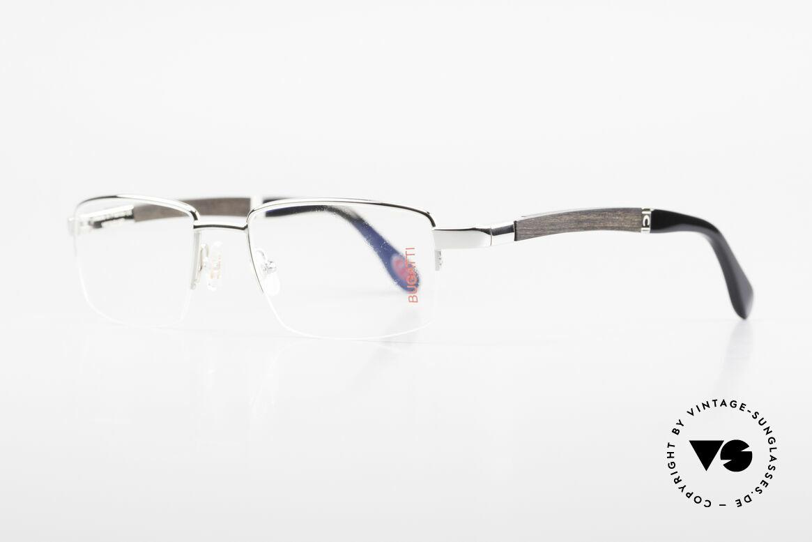 Bugatti 547 Ebenholz Palladium Brille M, afrikanisches Ebenholz aus Kamerun als Bügel-Inlay, Passend für Herren