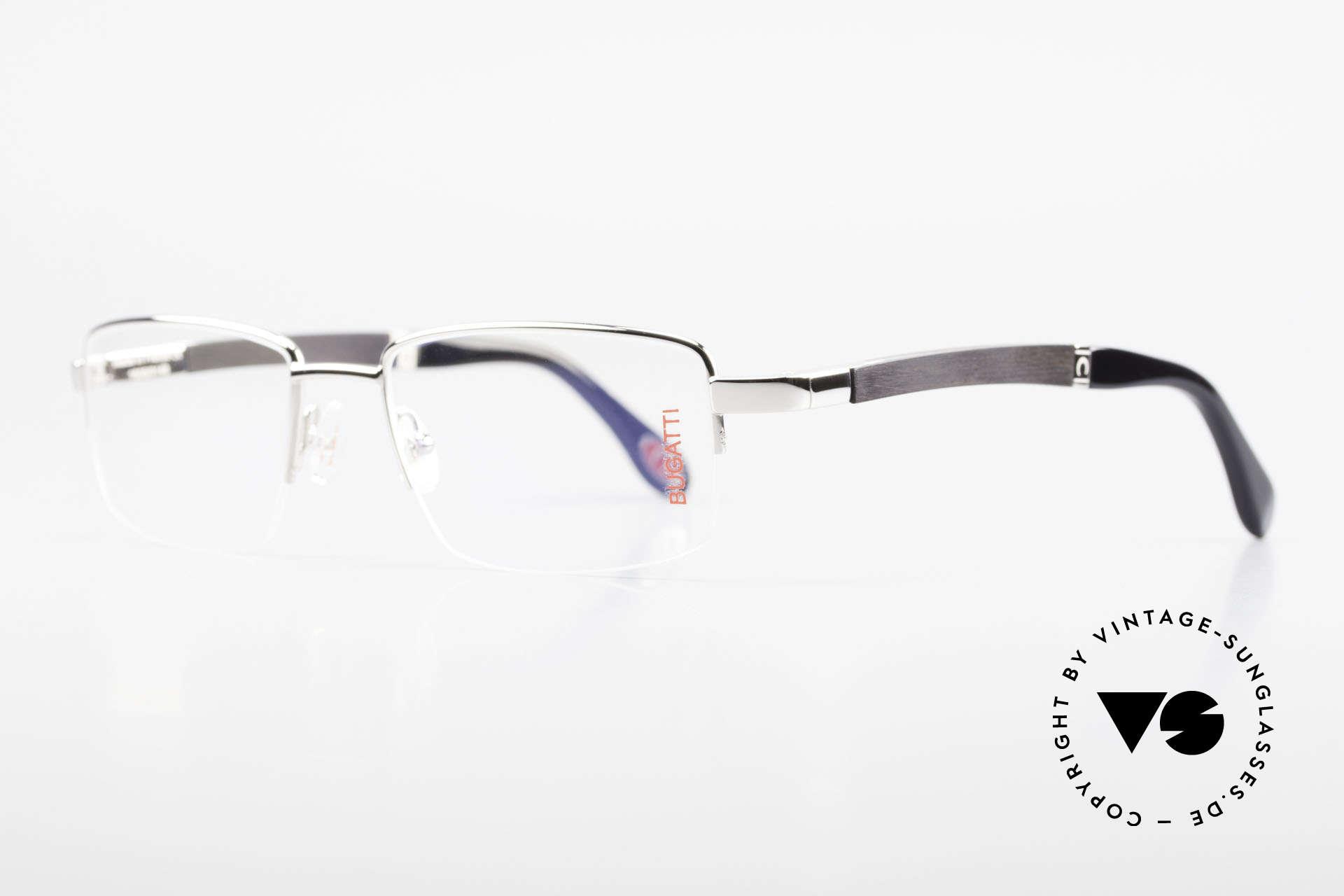 Bugatti 547 Ebenholz Palladium Brille L, afrikanisches Ebenholz aus Kamerun als Bügel-Inlay, Passend für Herren