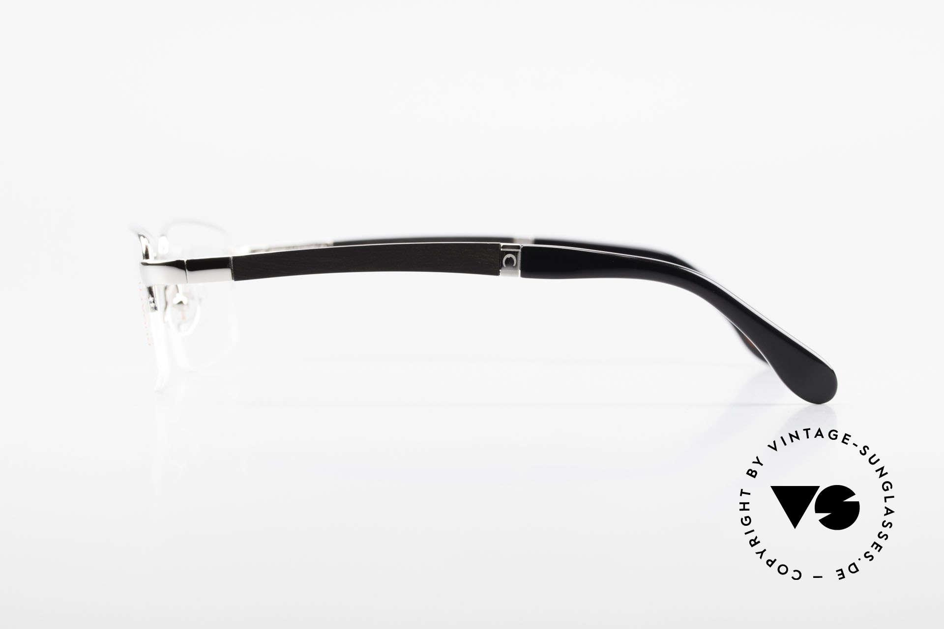 Bugatti 547 Ebenholz Palladium Brille L, flexible Federscharniere für eine optimale Passform, Passend für Herren