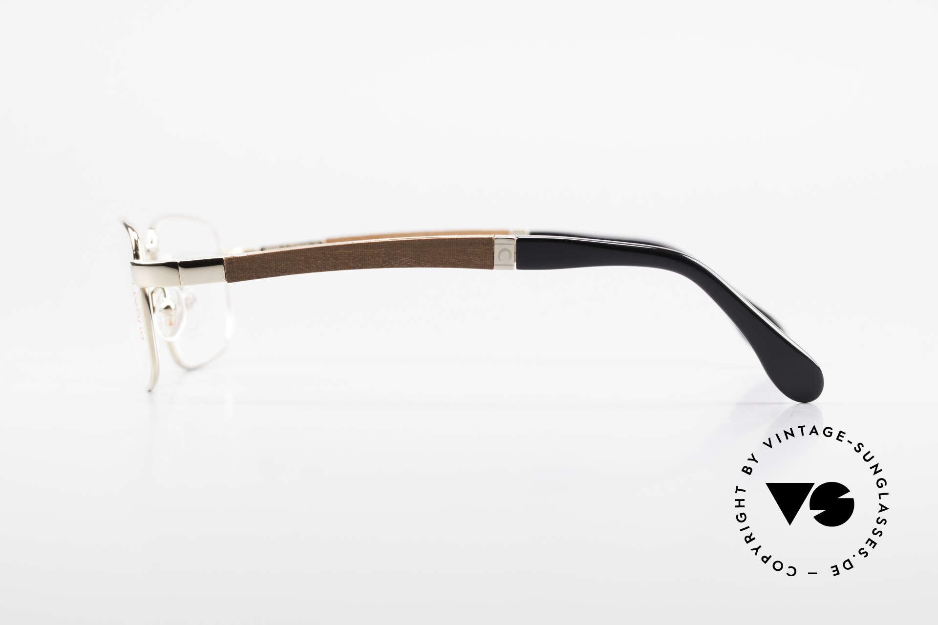 Bugatti 548 Padouk Edelholz Brille Gold M, flexible Federscharniere für eine optimale Passform, Passend für Herren